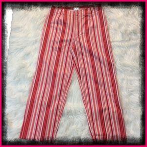Mossimo Red and Orange Striped Capris